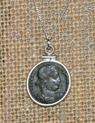 Authentic Ancient Coin Constantine The Great 925 Sterling Silver Charm Necklace