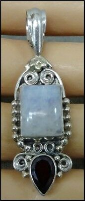 Vintage Sterling Silver Pendant With Opal Quartz and Garnet Settings