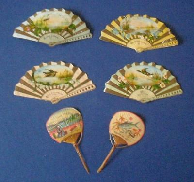 6 Victorian Die Cut Relief Scraps of Fans with Messages of Love
