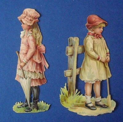 "2 Large Victorian Die Cut Relief Scraps of Girls (6"" high)"