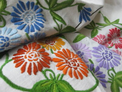 Beautiful Vintage Tablecloth Exquisite Raised Hand Embroidery ***free Post***