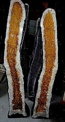 Inexpensive  Large 71 In.brazilian Citrine Crystal Cathedral Cluster Geode Pair