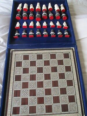 Antique Vintage Chess Set Inlaid Mother Of Pearl Hand Carved Cow Horn Cow Bone
