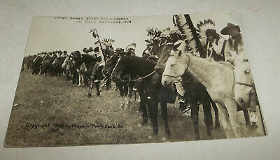 "Vtg 1909 Native American Real Photo Postcard ""Crazy Snake Ready For Charge"""