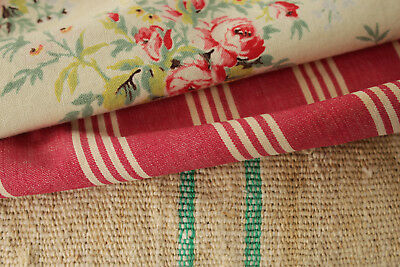 Vintage French fabric antique material PROJECT BUNDLE floral cotton TICKING