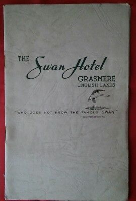 Vintage 1950s THE SWAN HOTEL GRASMERE ENGLISH LAKES HOTEL  BROCHURE  WORDSWORTH