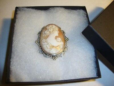 Antique 14k White Gold Carved Cameo Floral Filigree Brooch And Pendant Wt 9.7g