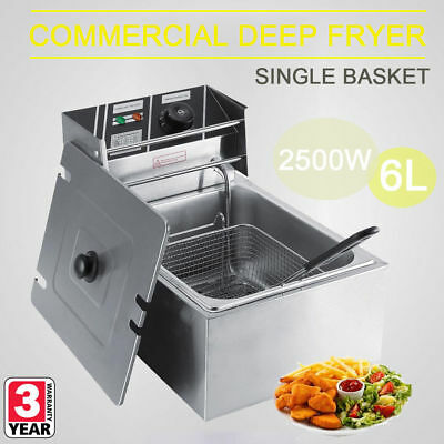2500W Electrical Deep Fryer Commercial Basket Stainless Steel Tank Fat Chip 6L