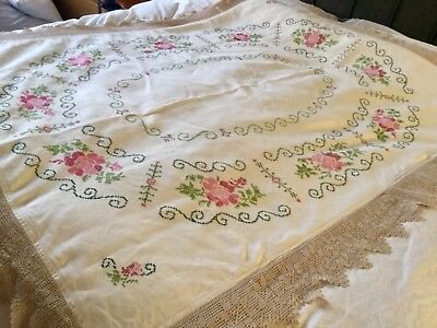 """Large Vintage hand embroidered crochet edge linen tablecloth 62"""" x 76"""""""