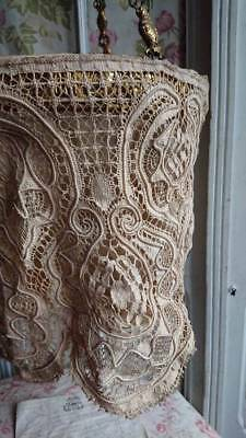 SWEET ANTIQUE FRENCH LACE HANGING LIGHT SHADE CEILING ROSE & CHAIN c1900