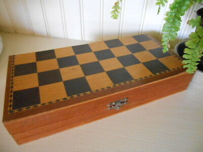 "Classic Wooden CHESS SET Folding Board Game Travel 10"" square"