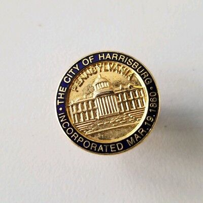 Early CITY of HARRISBURG PA old Employee LAPEL PIN with PA CAPITOL BUILDING