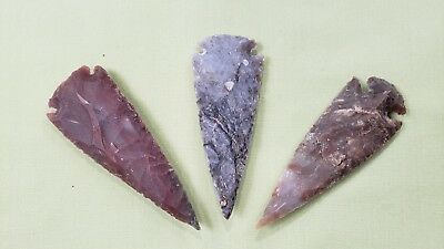 3 Spearhead Collection Hand Crafted Flint Knapped 3.75""