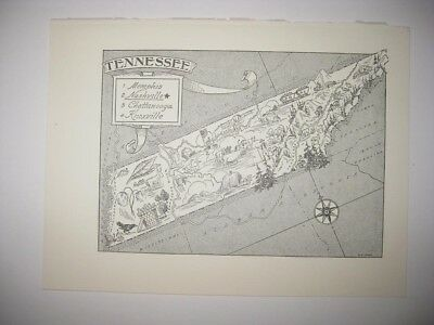 Antique 1959 Tennessee Cartoon Pictorial Map Memphis Nashville Knoxville Rare Nr
