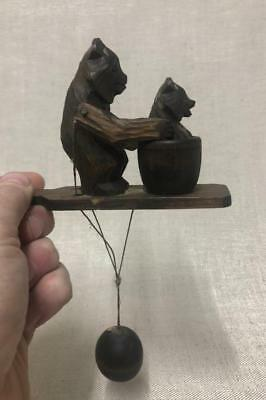 Antique Swiss Black Forest Articulated Carved Grizzly Bear & Baby in Bath 1920s