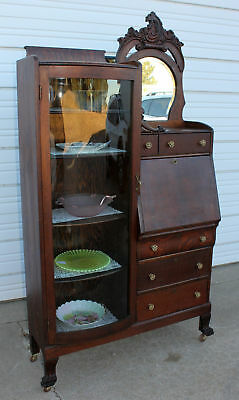 Antique Oak Claw Foot Curved Glass Secretary Bookcase Desk Carved Lion Heads OLD