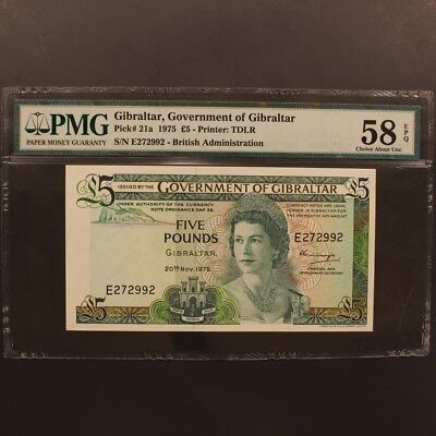 Gibraltar 5 Pounds 20.11.1975 P#21a Banknote PMG 58 EPQ - Choic About Unc