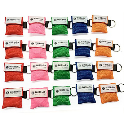 WillHealth 20 Pack CPR Pocket Mask CPR Mask KeyChain Kit Emergency Face Shields
