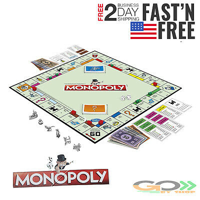 Monopoly Game Board Eight Token Original Classic Edition Traditional Family Game