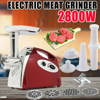 2800W Electric Meat Grinder Stainless Steel Sausage Mincer Maker + 4 Plate