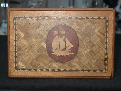 An Old Japanese Wood Puzzle Box With Ship 6 Movement