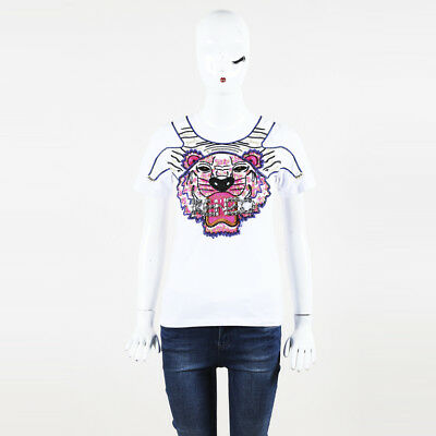 c72a1e34 KENZO EMBROIDERED & Sequined Tiger Cotton Blend T Shirt SZ S ...