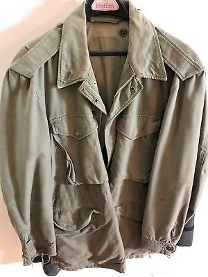 1958 Us Army Sateen Field Coat/jacket Olive Green Size Large