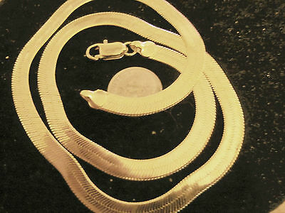 bling gold plated 4 mm 24in herringbone FASHION JEWELRY chain hip hop necklace
