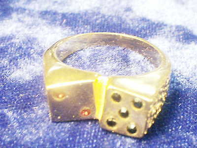 bling gold plated casino games dice fashion men`s ring hip hop jewelry gp size 9