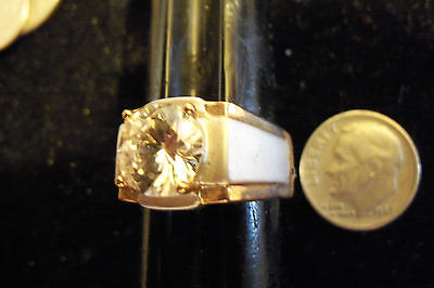 bling gold plated cubic CZ solitaire men`s FASHION ring hip hop jewelry sz 9 ace
