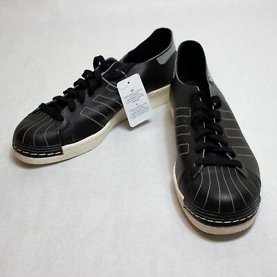 the latest 03d20 2fecb ADIDAS SUPERSTAR 80S Decon Black Vintage White Leather Sneakers BZ0110 size  10.5