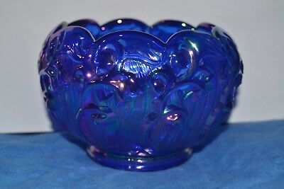 """Fenton Cobalt Iridescent Blue Carnival Lily Of The Valley Rose Bowl Art Glass 5"""""""