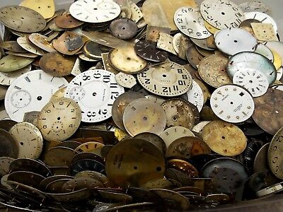 Lot of 40 old dials pocket and wrist watch parts faces for repair Steampunk art