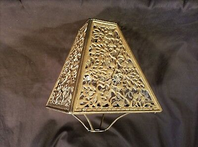 "Unusual Rare Brass ""casablanca"" Style Moorish Antique Vintage Lampshade Fancy"