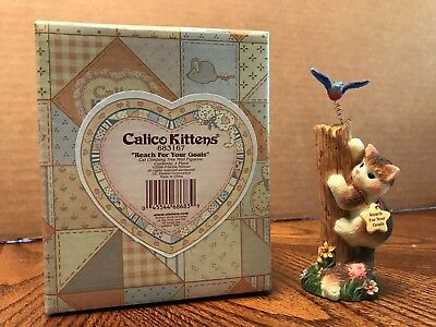 "Enesco Calico Kittens ""Reach For Your Goals"" Cat Climbing Tree  683167"