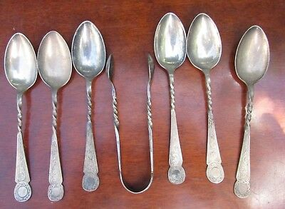 Lovely Set Victorian Epns Silver Plated Teaspoons Sugar Tongs