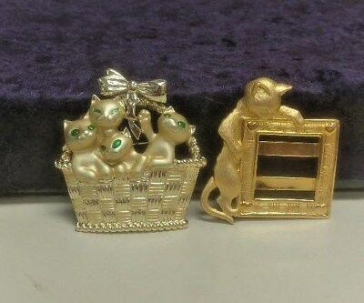 "Vtg 2 Gold Tone Brooch Pins by AJC ""Cats in Gift Basket "" & by J.J. Cat & Frame"
