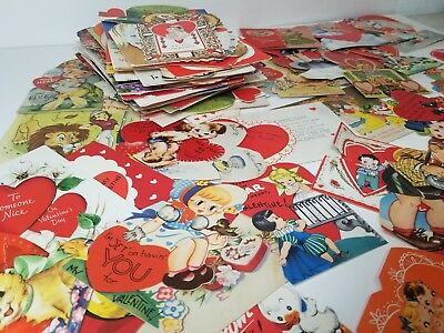 Lot of 140 Vintage Antique Valentine's Day Die Cut Cards from 1920-50's