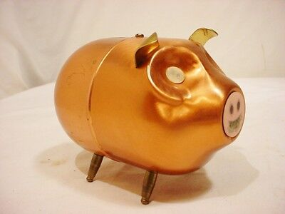 Vtg 70's Coppercraft Guild Small Pig Piggy Bank Copper Winkie Eyes Snout FreShip