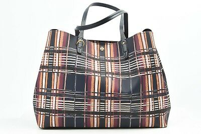 1b4fd2008df Tory Burch Kerrington Square navy Philly plaid tote handbag purse NEW  298