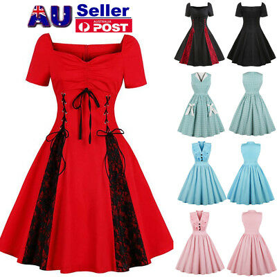 AU Womens Plus Size 50s 60s Vintage Rockabilly Cocktail Party Swing Skater  Dress 76314d08fcaa