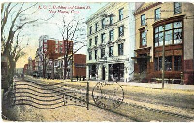 Old Postcard K.o.c. Building & Chapel Street New Haven Connecticut 1912 Ct
