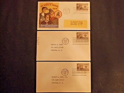 3 Boy Scouts of America 1950 canc. Valley Forge, PA First Day of Issue