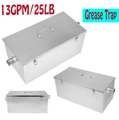Commercial Kitchen Grease Trap Stainless Steel Interceptor Filter Kit 25LB 13GPM