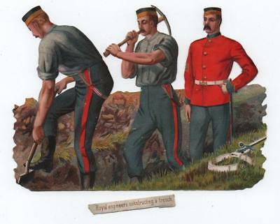 Large Victorian Die Cut Relief Scrap. Royal Engineers diggging trench. A.Payne