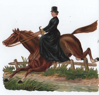 Large Victorian Die Cut Relief Scrap Lady riding Sidesaddle Jumping Fence/Water