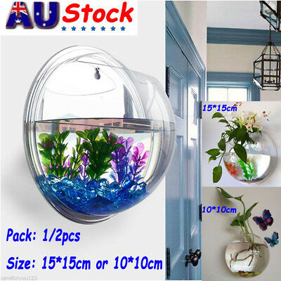 2x Acrylic Wall Mount Hanging Fish Bowl Aquarium Tank Beta Goldfish Plants Decor