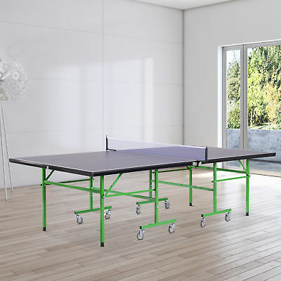 HOMCOM Full Size Folding Table Tennis Professional Ping Pong Table Game Wheels