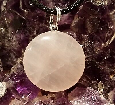WOW - NEW ROSE QUARTZ ROUND GEMSTONE PENDANT on 44 cm Long Ext Black Cord