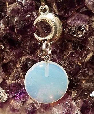 WOW - NEW DOUBLE MOON & OPALITE GEMSTONE PENDANT on 44 cm Long Ext Black Cord